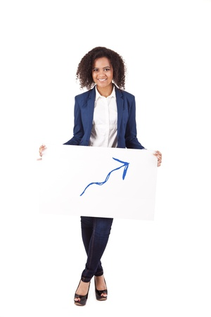 Young African woman illustrating growth on white background photo