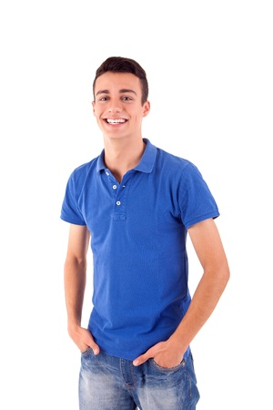 Portrait of handsome young man in casual clothes standing over white background
