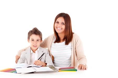 schoolwork: Happy woman, mother or teacher helping kid with schoolwork
