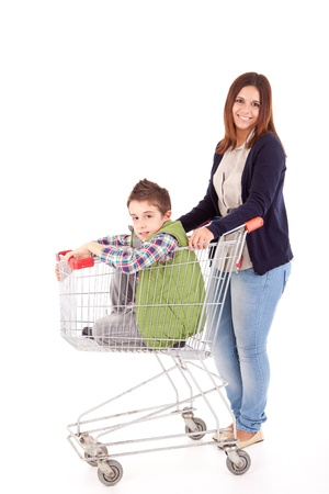 Happy mother with her kid sitting in shopping basket Stock Photo - 17314146