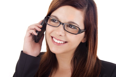 tecnology: Young woman talking on mobile phone