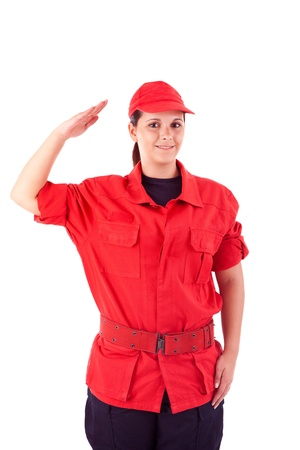 fire protection: Beautiful woman with professional uniform