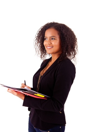 Beautiful african woman scheduling an appointment Stock Photo - 17347491