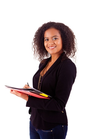 agenda year planner: Beautiful african woman scheduling an appointment