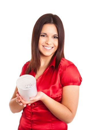 costumer: Beautiful woman holding presents while smiling