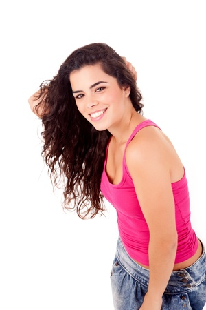 Beautiful woman smiling and posing over white background photo