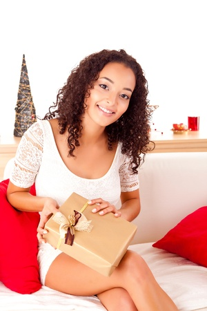 Beautiful african woman with presents photo
