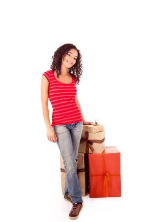 Beautiful african woman with presents Stock Photo - 17268396