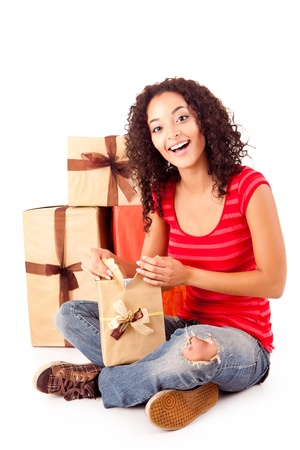 Beautiful african woman with presents Stock Photo - 17268504