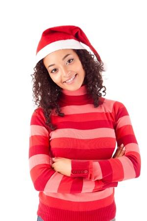 wearing santa hat: Beautiful african woman celebrating christmas wearing santa hat