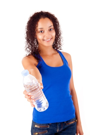 Beautiful african woman holding a water bottle Stock Photo - 17300297