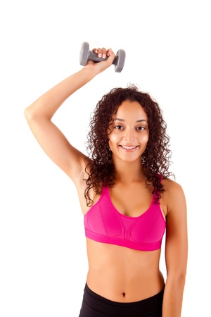Pretty young african woman doing exercise - Fitness Concept Stock Photo - 17300299