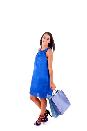 adult indian: Beautiful woman with shopping bags over white