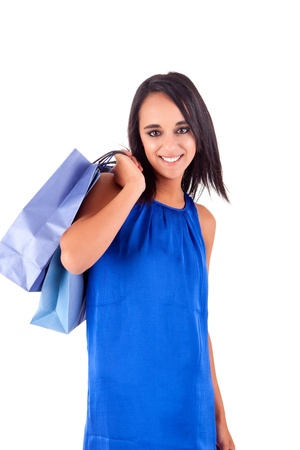 Beautiful woman with shopping bags over white Stock Photo - 17300349