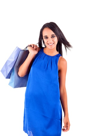 Beautiful woman with shopping bags over white Stock Photo - 17300346