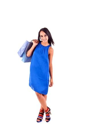 Beautiful woman with shopping bags over white Stock Photo - 17300130