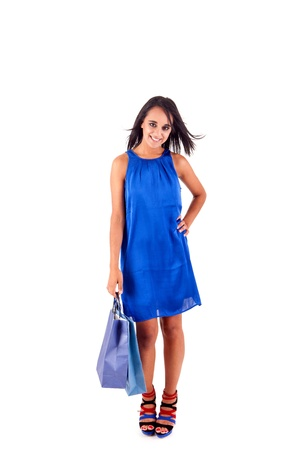 Beautiful woman with shopping bags over white Stock Photo - 17300128