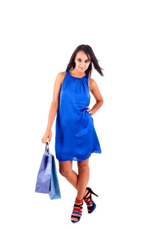 Beautiful woman with shopping bags over white Stock Photo - 17300133
