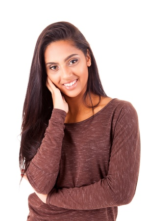 arabic woman: Beautiful mix race woman posing over white background Stock Photo
