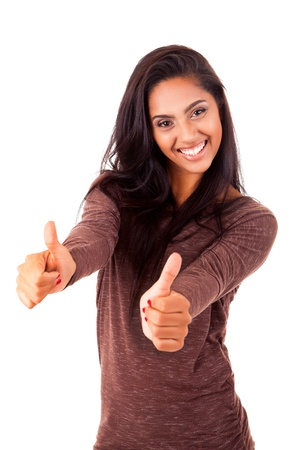 hispanic americans: Beautiful mix race woman showing thumbs up over white background
