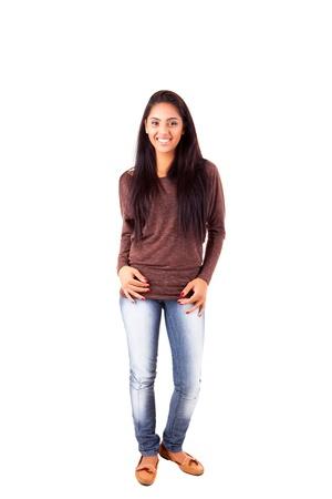 mix race: Beautiful mix race woman posing over white background Stock Photo