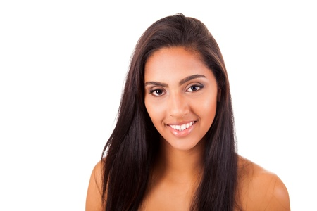 naked young woman: Portrait of a beautiful ethnic woman over white background