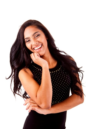 Beautiful mix race woman posing over white background photo