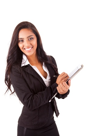 event planner: Beautiful woman scheduling an appointment