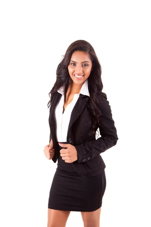Portrait of modern business woman smiling over white background photo