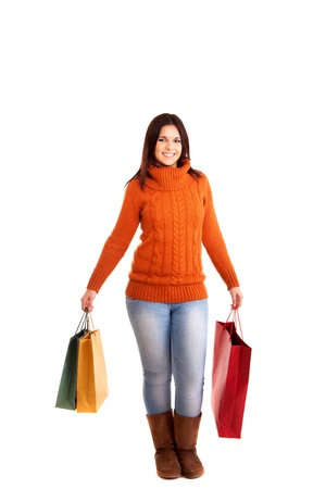 beautiful woman holding shopping bags over white background Stock Photo - 17574063