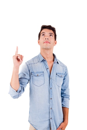 man pointing up: Beautiful man pointing up over white background Stock Photo