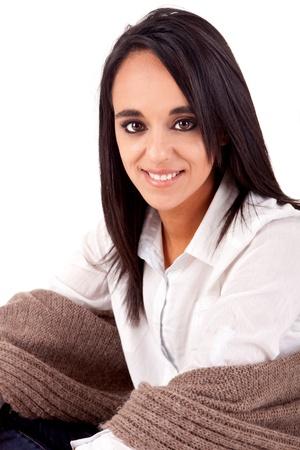 Beautiful mix race woman posing over white background photo