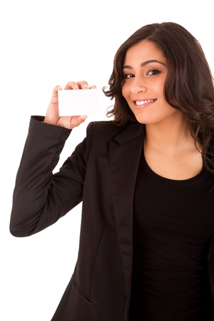 Friendly woman holding a business card and smiling photo