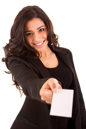 contact info: Friendly woman holding a business card and smiling