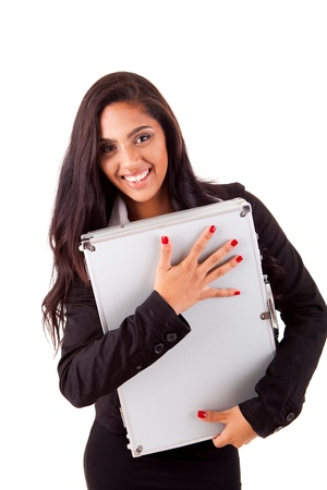 mix race: Beautiful mix race woman holding metal grey case