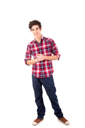 boy body: Young casual man posing isolated over white