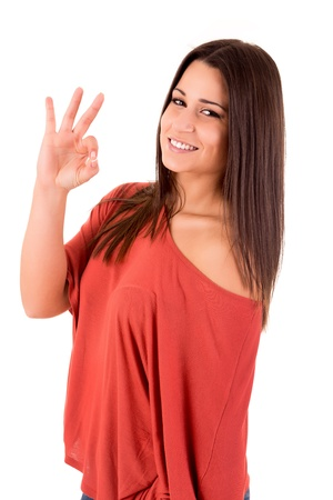 acclamation: Beautiful woman smiling and showing OK sign Stock Photo