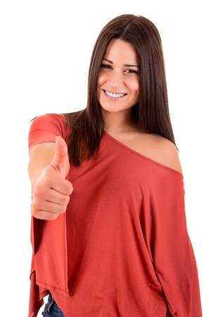acclamation: Beautiful woman smiling and showing Thumbs up