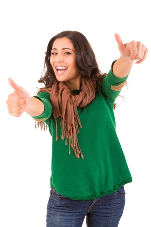 ok sign: Happy woman with thumbs up Stock Photo