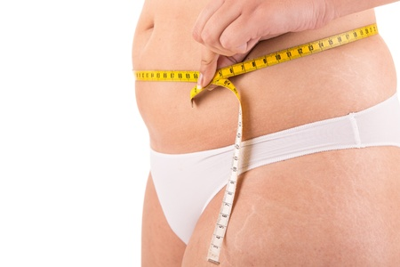 body curve: Fat woman measuring her body Stock Photo