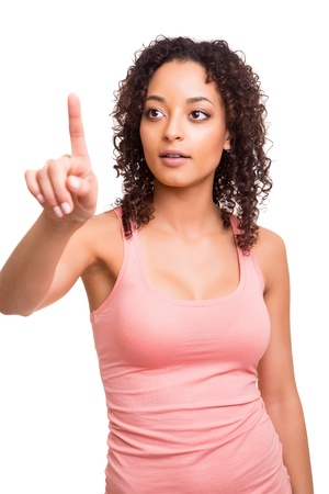 Beautiful afro woman pointing to the front Stock Photo - 19857356