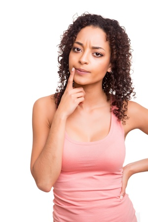 Beautiful african woman thinking over white background Stock Photo - 19857350