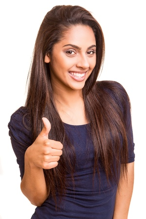 mixed colors: Beautiful mix race woman showing thumbs up over white background