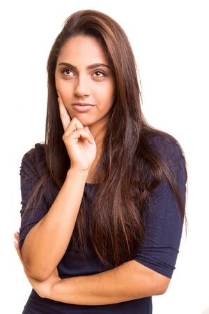 mix race: Beautful mix race woman thinking over white background