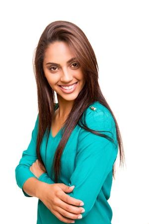 mix race: Beautiful mix race woman posing over white background