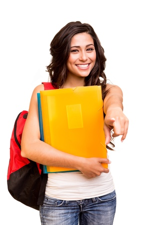 Young happy student pointing front