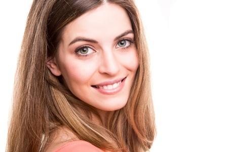 blonde yeux bleus: Portrait of a smiling young woman Banque d'images