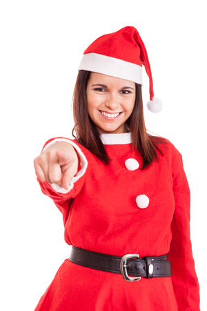 Beautiful Christmas woman pointing front photo