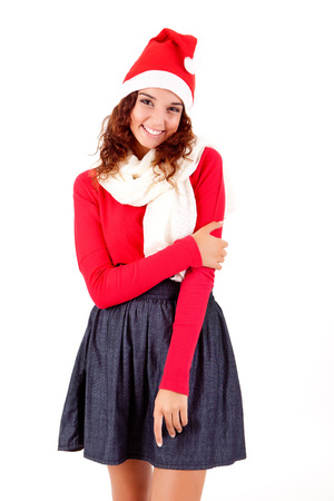 Beautiful woman posing for Christmas photo
