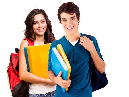 Deux jeunes étudiants heureux sur fond blanc Banque d'images